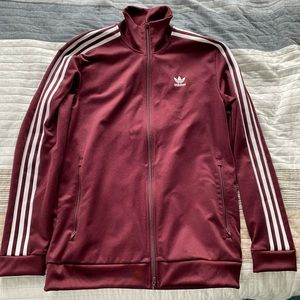 Maroon Adidas full zip jacket
